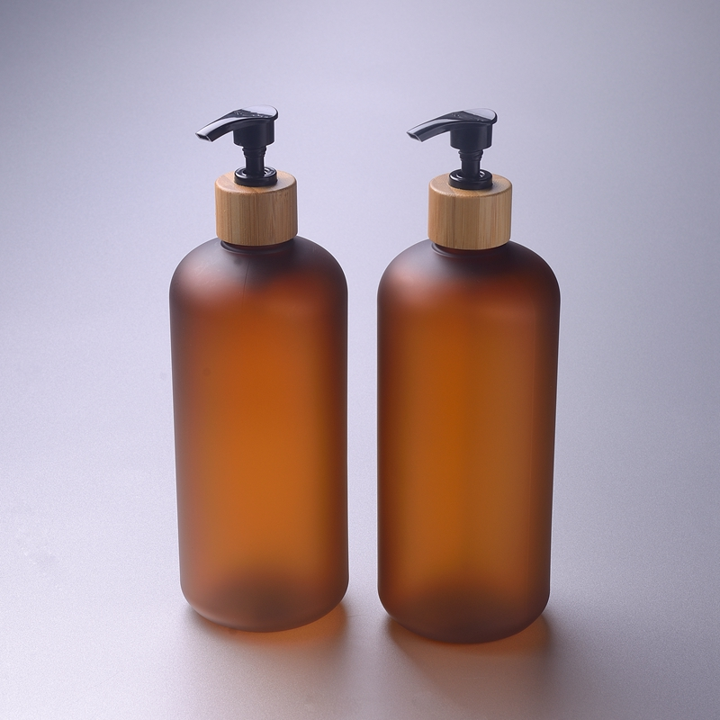 SY-CF200B Amber boston round PET plastic bottle bamboo packaging cosmetics and body lotion in stock