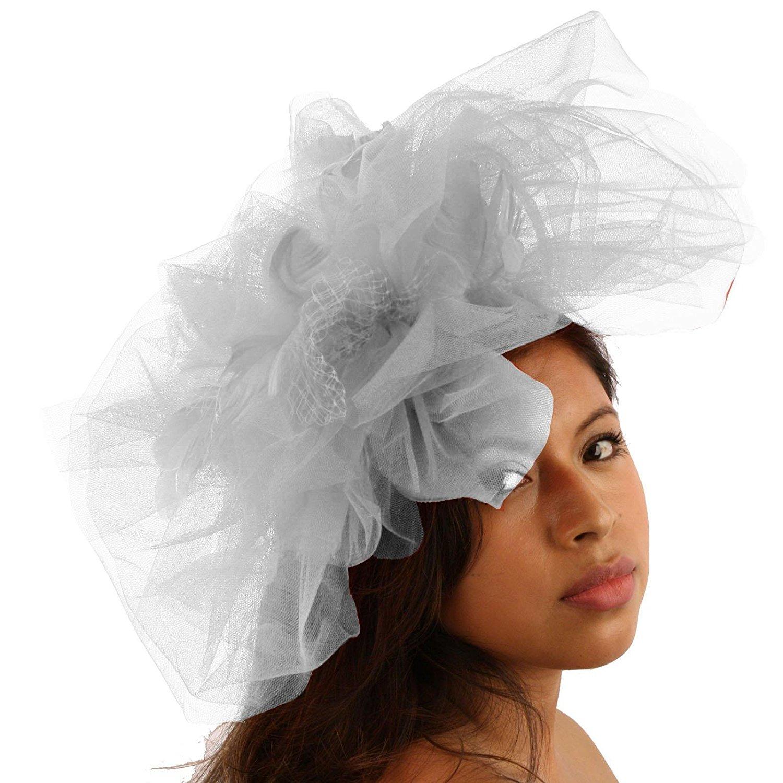 8d6df14cce7d9 Get Quotations · SK Hat shop Big Tulle Mesh Feathers Fishnet Headband  Fascinator Bridal Cocktail Hat