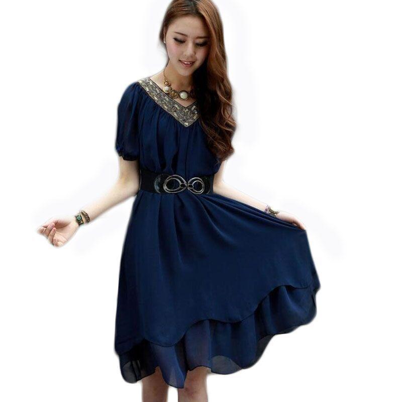 3f979d758d Get Quotations · Summer Style Dress For Women Plus Size 4XL Dresses 2015  New Korean Chiffon Dress Striped Leopard