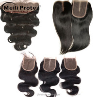 7A Bleached Knots cheap human hair lace closure Free parting/Middle/3 way lace frontal closure Part brazilian hair Lace Closure