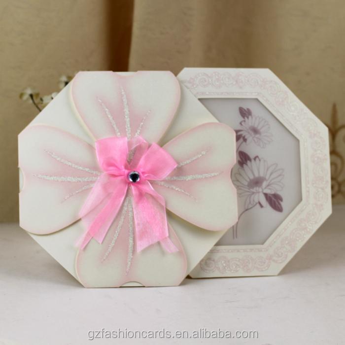 2014 Pink Fancy Flower Shaped Wedding Invitations Buy Flower