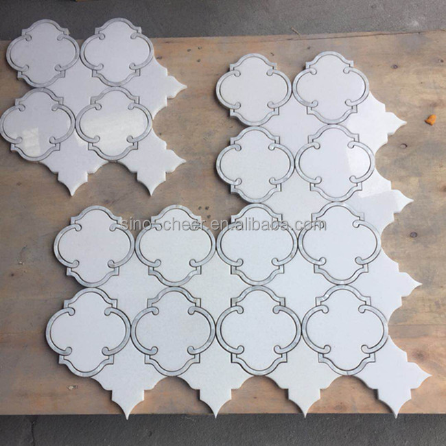 manufacturer mother of pearl and thassos waterjet mosaic tiles