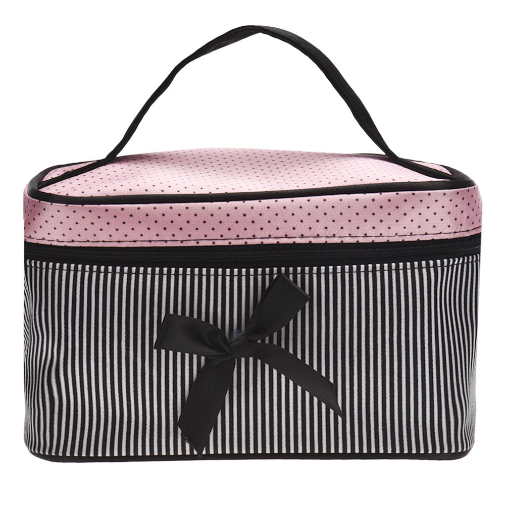 a5757d92d4af 2019 Cosmetic Bag Make Up Bags Travel Makeup Bag Square Bow Striped Beauty  Case Best Gift Girls Zipper Storage From Faaa, $30.31 | DHgate.Com