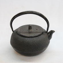 Vintage Japanese Tetsubin Cast Iron Stem Lidded Beaded Ball Design Teapot Signed