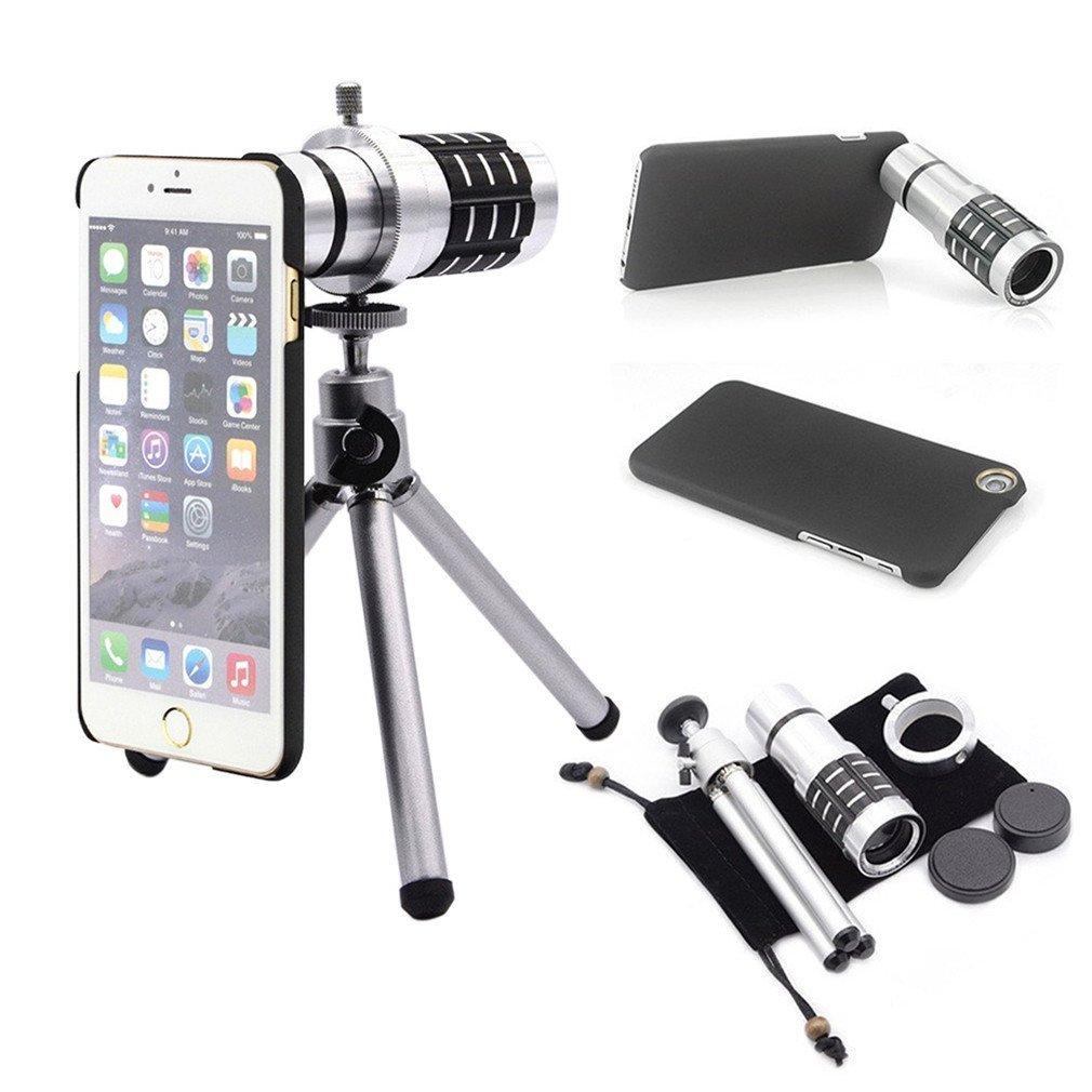 Phifo 12x Optical Zoom Universal Smartphone Telephoto Telescope Lens Iphone Samsung Camera Lens Kit Telescope Aluminum Mobile Phone Camera Lens Kit + Mini Tripod (iPhone6/6S)