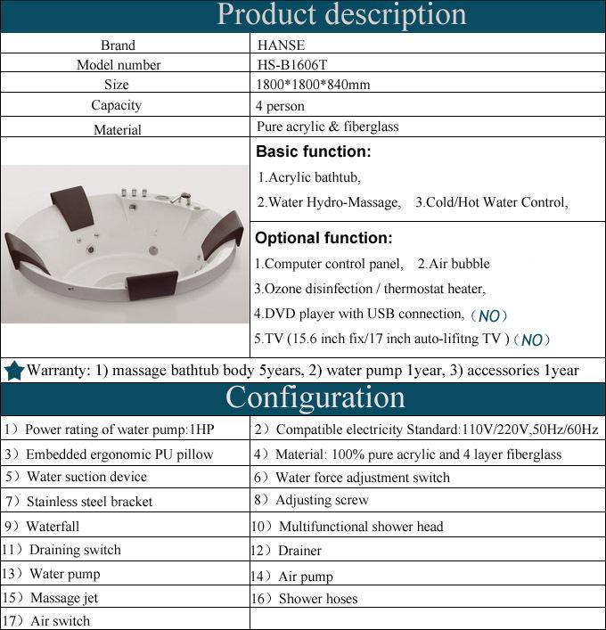 HS B1606T Spa Bath Tub/fiberglass Hot Tub/4 Person Hot Tub/