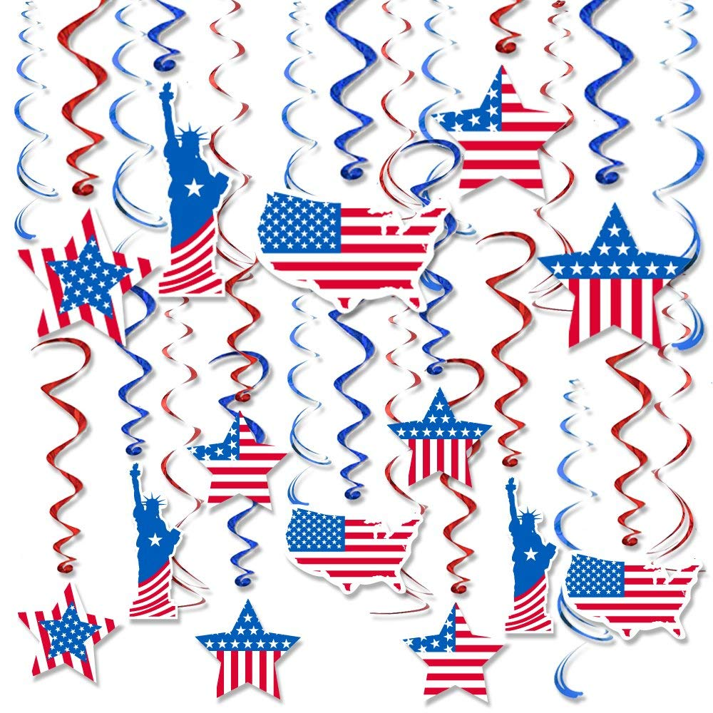 Patriotic Decorations 4th of July Party America Flag Hanging Swirl Ceiling Accessory, Red and Blue Foil Prefect for Veterans Day, Memorial Day, Pack of 30 by Friday Night