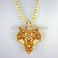 Hip Hop Good Custom Wood Wolf head Wooden Bead Necklace