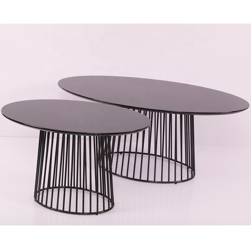 Modern high gloss metal frame MDF coffee table