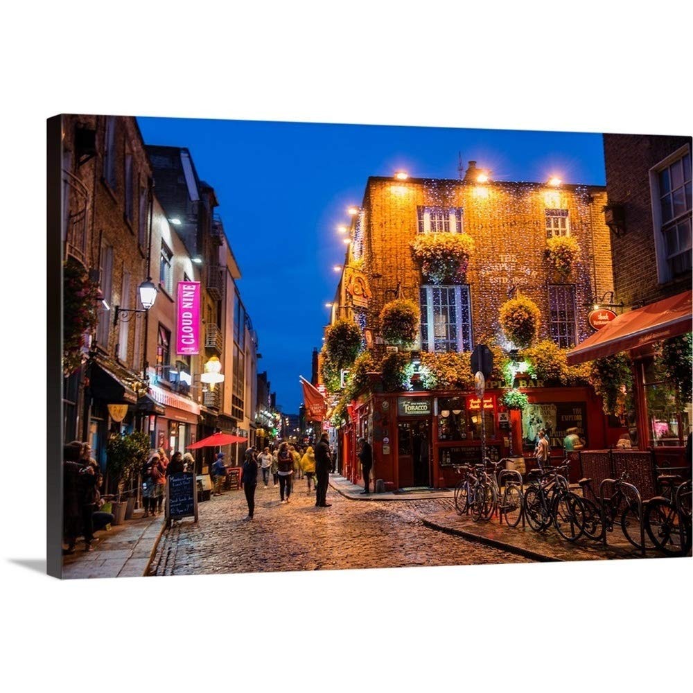 """greatBIGcanvas Gallery-Wrapped Canvas Entitled Temple Bar, Dublin, Ireland at Night Circle Capture 24""""x16"""""""
