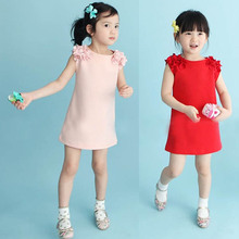 Hot Summer Baby Kids 1 Year Girls Flower Sleeveless Princess Mini Dress Party Dresses Clothes Red Pink Solid Vestido