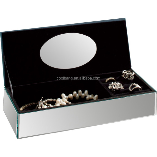 Coolbang CBM123 customizable decorative silver glass mirror trinket box