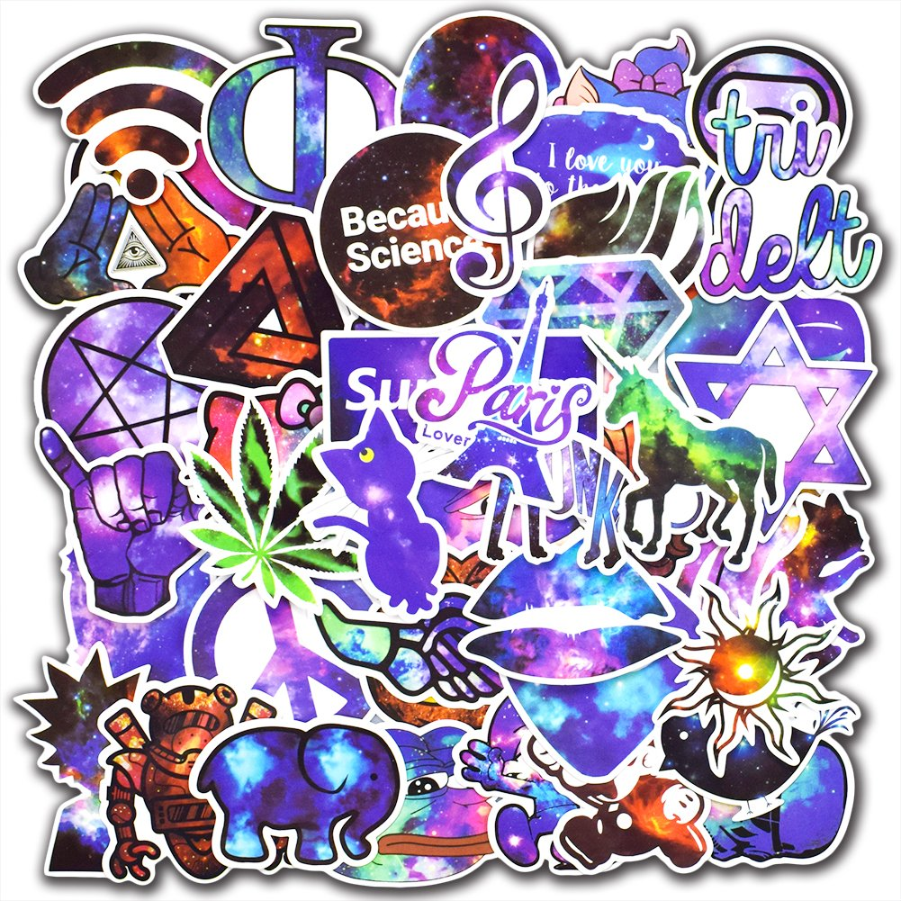 50 Pcs Galaxy Graffiti Stickers for Laptop Car Luggage Bicycle Motorcycle Computer Skateboard Snowboard Water Bottle Vinyl Decal Pack Bomb Cool Stickers