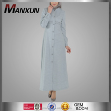 2016 Fashion Design Zipper Denim Abaya Traditional Wear Long Muslim Modern Abaya Coats