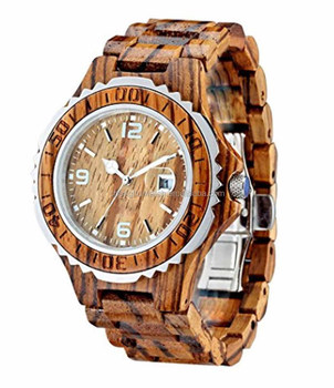 stainless steel and wood watch mixing 2 material water resistant wooden watch manufacturer