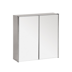 Double Doors stainless steel wall mounted mirrored bathroom medicine cabinet