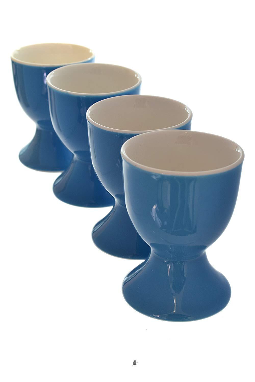 Set 4 Blue Royal Fine Porcelain Footed Cup Egg Holder Stands