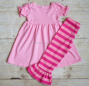 High quality kids clothing sets boutique infant girls ruffle striped set for spring new year