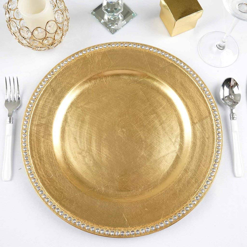 "Tableclothsfactory 13"" Round Gold Crystal Beaded Acrylic Charger Plates Wedding Party Dinner Servers - Set of 6"
