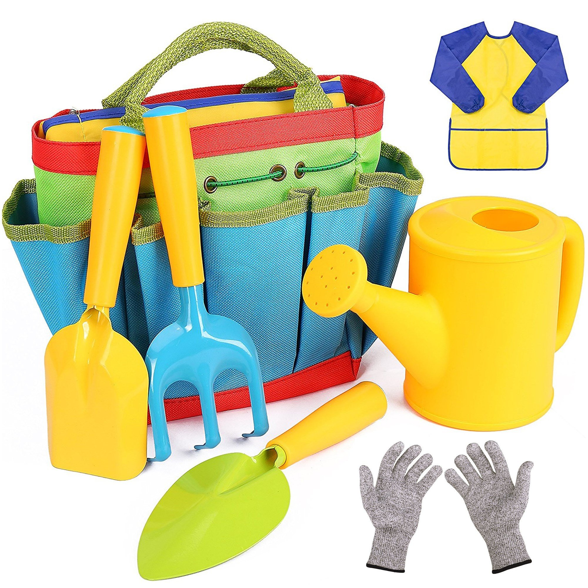 Flykin Kids Gardening Tools, 7 Piece Garden tool set for Kids with Watering Can, Gardening Gloves, Shovel, Rake, Trowel and Kids Smock, All in One Gardening Tote