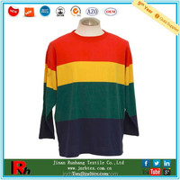 Colorful design custom men cotton crew neck long sleeve striped tshirt