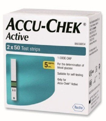 Accu-Chek 100 (50X2) Test Strips For Active Glucometer(Blue)