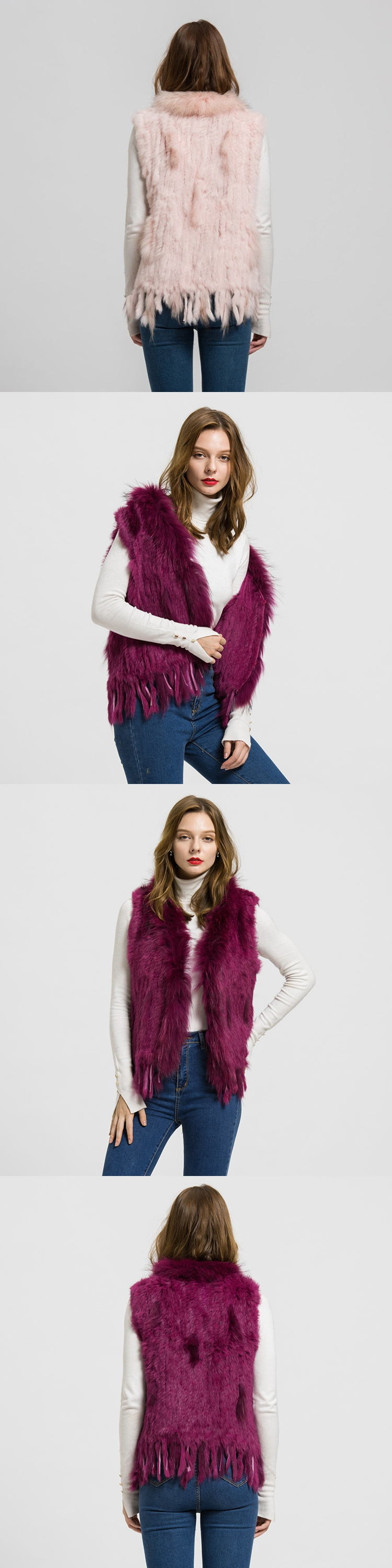 New Rabbit Real Fur Vest Raccoon Fur Collar Women Waistcoat Lady Winter Fashion Gilet Coat