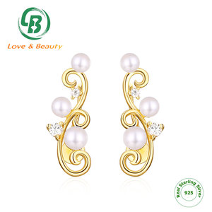 Vine 925 Sterling silver wrap non pierced clip pearl ear climber cuff earrings