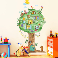 Animal tree wall stickers for kids rooms nursery baby bedroom interior wall decoration decals