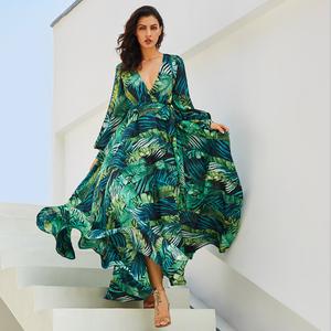 Boho Long Sleeve Dress Green Tropical Beach Vintage Maxi Dresses V Neck Belt Lace Up Plus Size Dress
