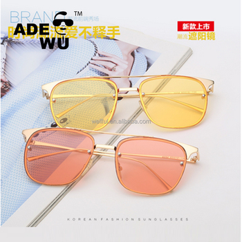 76e7e8ecf748 ADE WU fashionable Sunglasses Women Men Korea Brand Metal Transparent  colors Square sun glasses