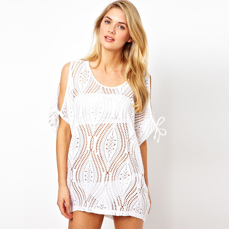 7c353f1bb6 Get Quotations · B207 B208 Black white lace cut out shoulder sexy beach  cover up hollow out
