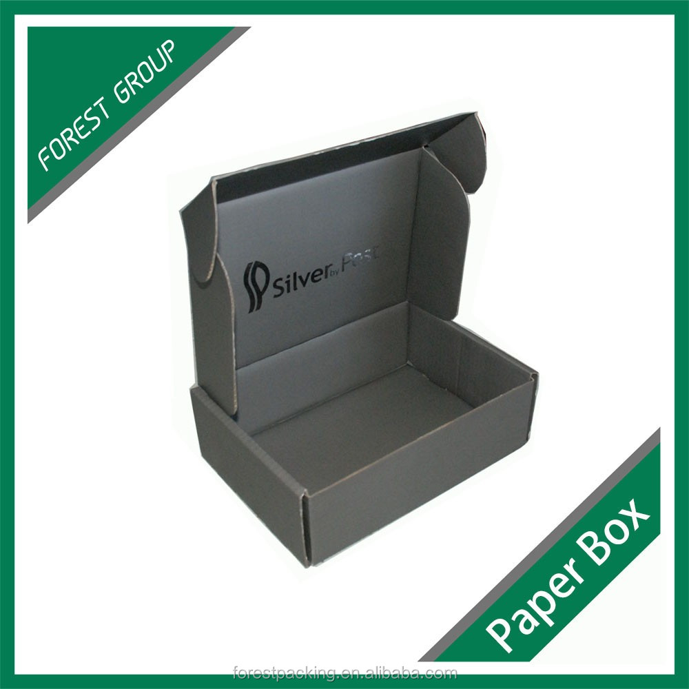 CHINA MANUFACTURER BLACK COLOUR PRINTED CUSTOM CORRUAGATED CARDBOARD PAPER BOX WHOLESALE CUSTOM MAILER BOXES