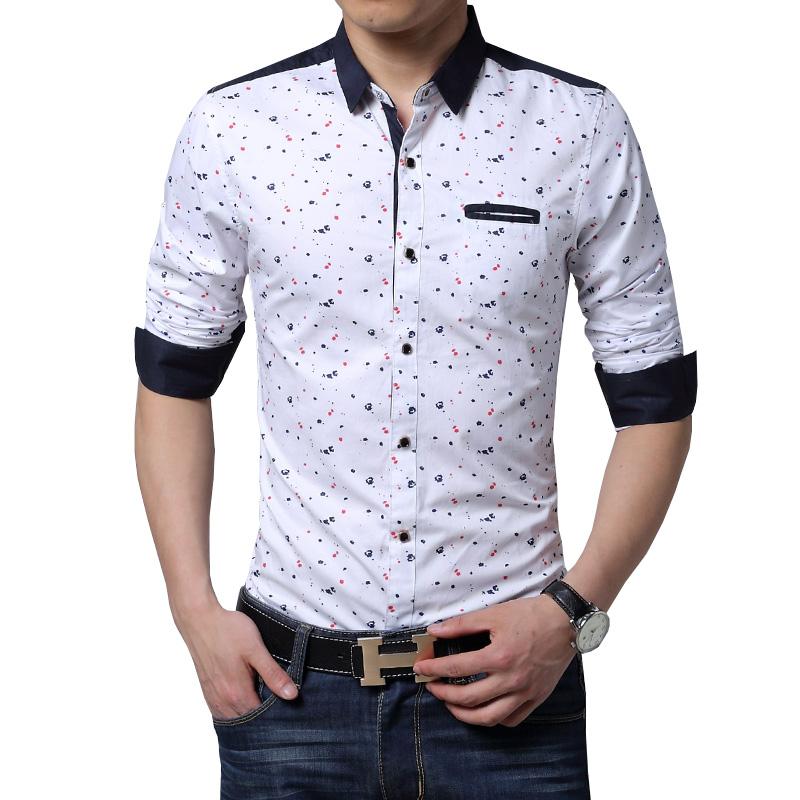 06eb173dbbc 2019 Wholesale Men Long Sleeve Shirt Casual Slim Fit Cotton Printed ...