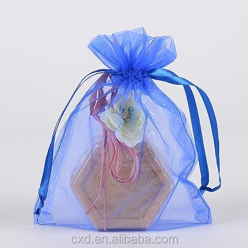 white pink organza wedding favor bag with ribbon logo printed
