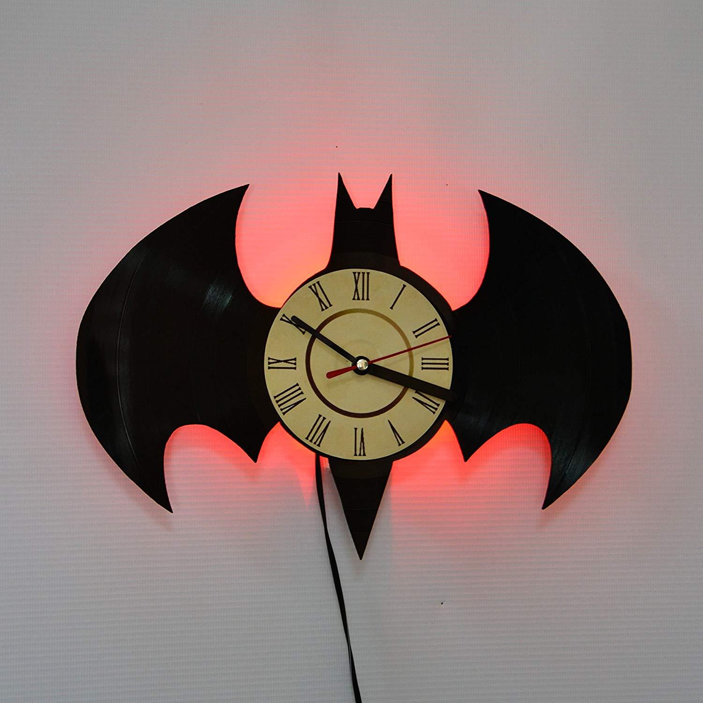 Batman Batarang RED LED Vinyl Clock Night Light Night Lamp I Love Led Vinyl Clock Wall Light Backlight Color Remote Controller Vintage Handmade Home Decor Art Decorative Wall