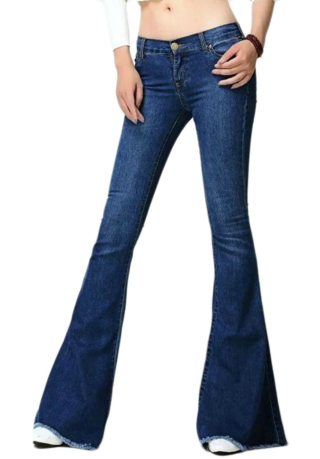c996de9a050e8d Get Quotations · Cruiize Womens Washed Stretch Denim Bell Bottom Cutoff  Jeans Pant