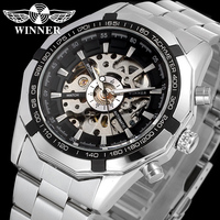T-WINNER 2020 Mens Watches Top Selling White Silver relojes hombre jam tangan Luxury Skeleton Automatic Wholesale Factory Made