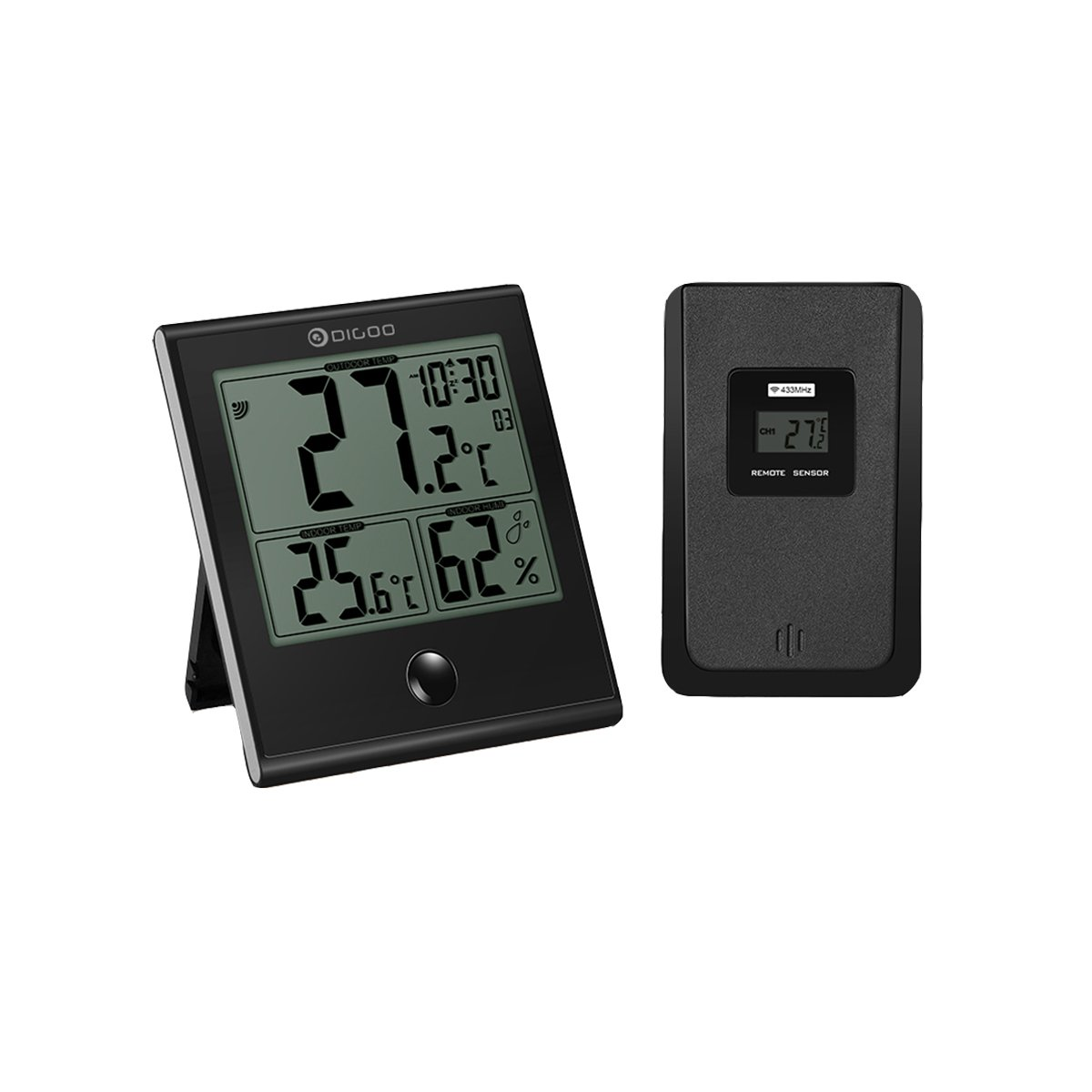 DIGOO Digital Indoor Outdoor Home Thermometer, High-precision Hygrometer Gauge Monitoring Humidity Temperature, Clock Alarm Function, Large LCD Display