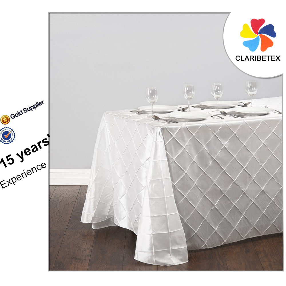 white taffeta restaurant wedding pintuck table cloth: rectangular dining table cover cloth knitted vintage