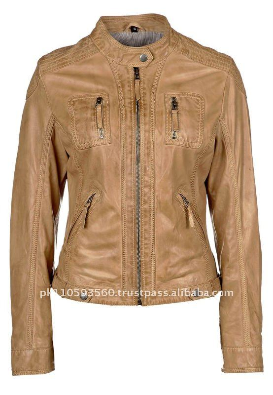 Front Zip Pockets Womens New Leather Jacket