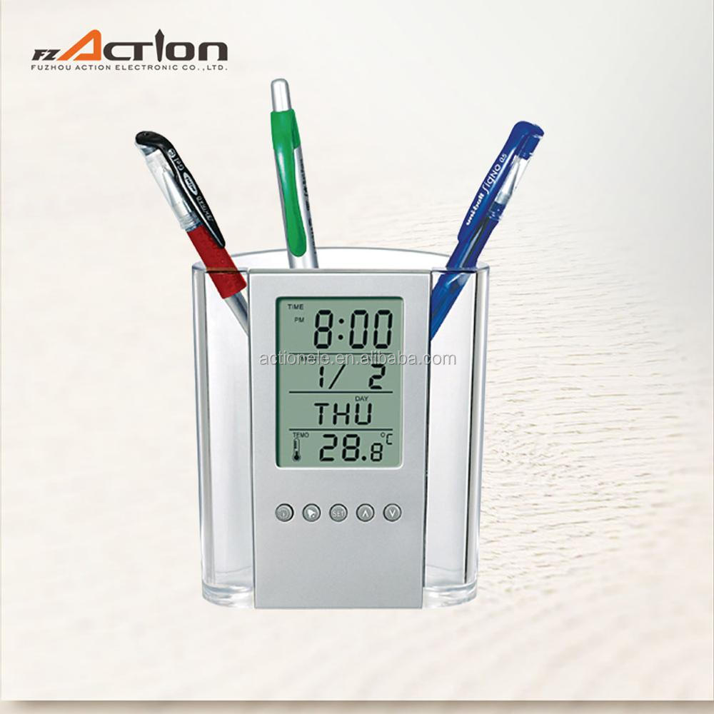 Promotional Unique Design Digital Alarm Pen holder Clock With Temperature