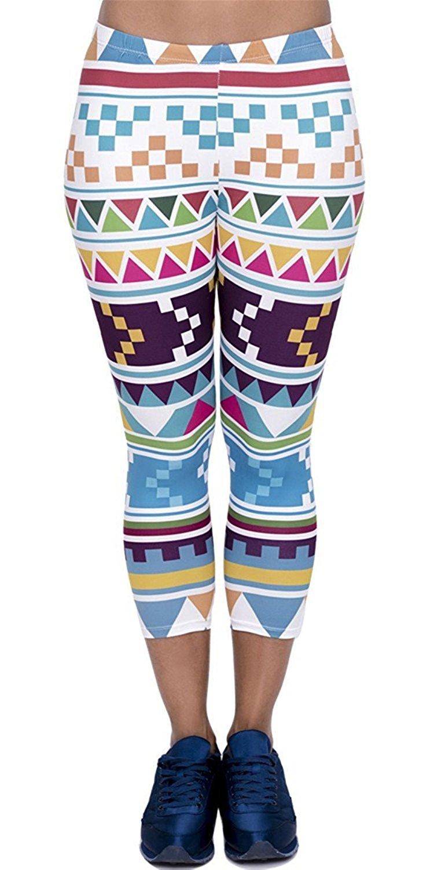 Eelivero Capri Cropped Leggings Basic Printed Patterned Women Girls Spanx Leggings Yoga Pants