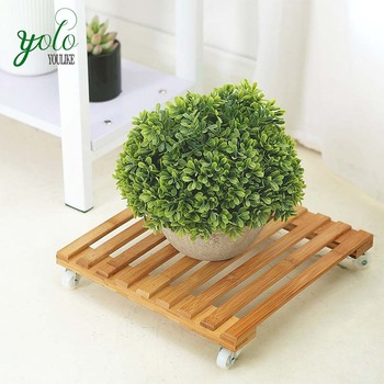 12 Inch Bamboo Planter Slatted Rolling Plant Caddy With Rotating