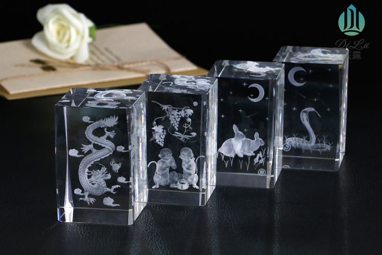 Modern Carve Crafts 3D Laser Engraved Crystal Glass Cube with K9 crystal material for gifts crafts