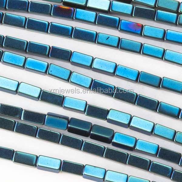2x4mm Blue Colored Hematite / haematite Squared Tube beads