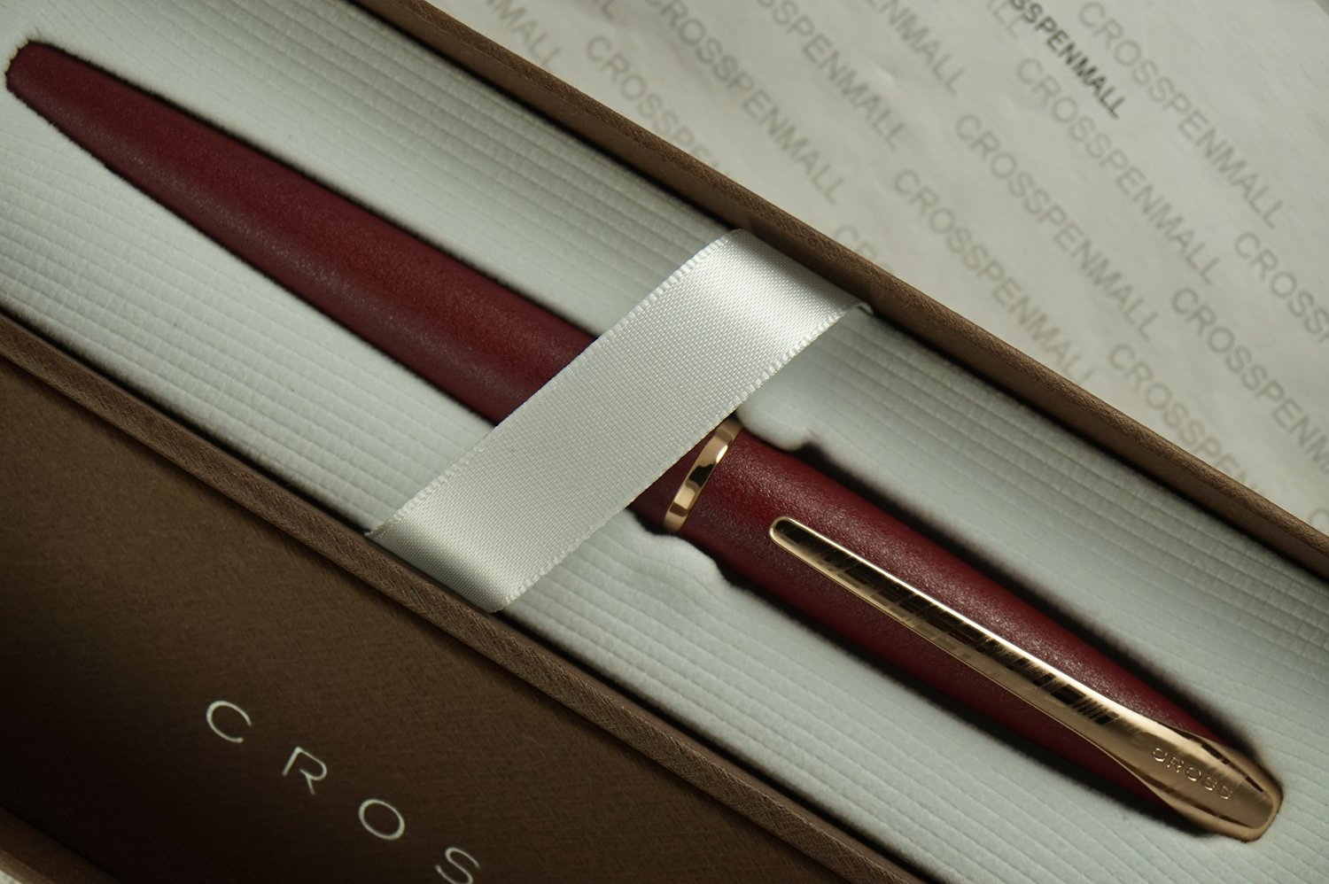 Cross ATX Satin Matte Claret Red with 23KT Maltese Rose Gold Appointment Select Tip Roller Ball Pen Gold Appointments