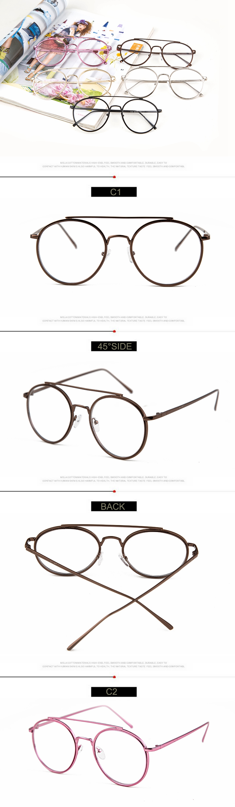 db6ccd0cdd4 HsAblaze Eyewear Retro Clear Cens Nerd Glasses Frames For Men Male Oval  Round Eyeglasses For Women Gold Metal Glasses Frame. HS   01   02