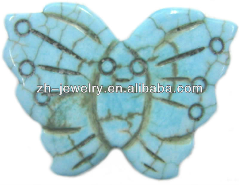 Carved Turquoise Butterfly Beads