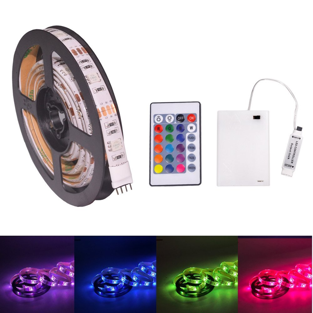 LED Strip Lights, RGB 3.28ft 30 LED Battery Waterproof Flexible Rope Ribbon Lights TV Backlight Battery-powered with Wireless Remote Control,Decoration Lights for DIY Party Living Room (1M/3.28ft)